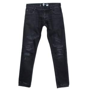 Dolce & Gabbana 14 Gold Black Distressed Denim Straight Jeans S