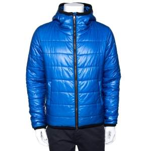 Dolce & Gabbana Blue Nylon Hooded Puffer Jacket S
