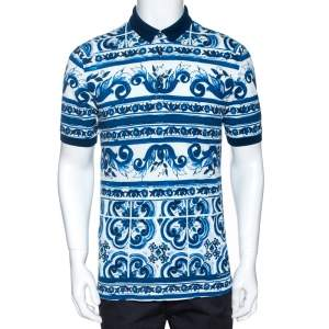 Dolce & Gabbana Blue Majolica Print Cotton Polo T-Shirt M