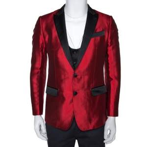 Dolce & Gabbana Red Silk Martini Vest and Tuxedo Blazer Set S