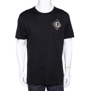 Dolce & Gabbana Black Cotton Logo Applique T-Shirt XL