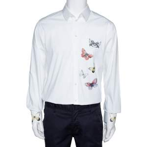Dolce & Gabbana White Cotton Butterfly Applique  Button Front Shirt XXL