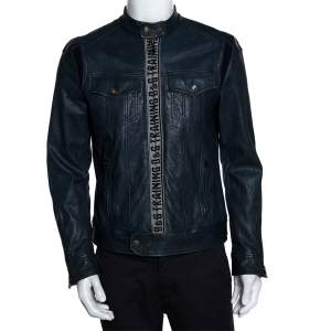 D&G Blue Leather Training Athletic System Jacket S