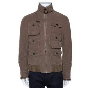 Dolce & Gabbana Brown Corduroy Fur Lined Zip Front Jacket S