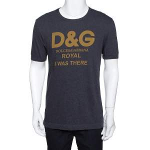 Dolce & Gabbana Grey Cotton Royal Print T Shirt M