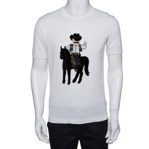 Dolce & Gabbana Cream Cotton Cowboy Patch T Shirt M