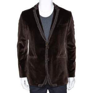 Dolce & Gabbana Brown Velvet Raw Edge Detail Blazer M