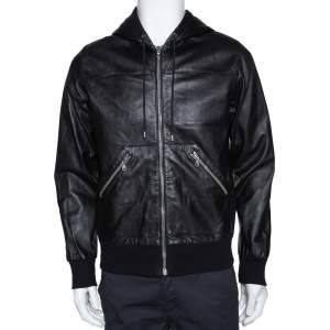 Dolce & Gabbana Black Leather & Jersey Lined Hooded Jacket S