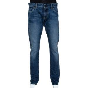 Dolce & Gabbana 14 Indigo Light Washed Denim Distressed Jeans L