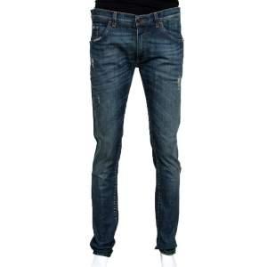 Dolce & Gabbana 14 Blue Faded Effect Denim Distressed Jeans XL