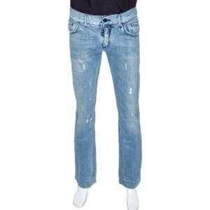 Dolce & Gabbana Light Blue Denim Distressed Straight Fit Jeans M