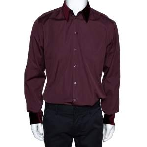 Dolce & Gabbana Burgundy Cotton Velvet Collar Martini Shirt L