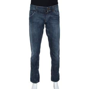 Dolce & Gabbana Blue Distressed Denim 12 Gold Fit Jeans M