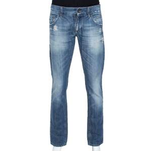 Dolce & Gabbana Blue Light Wash Denim Distressed Low Rise Jeans M