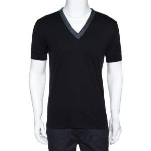 Dolce & Gabbana Black Cotton Contrast Trim V Neck T Shirt M