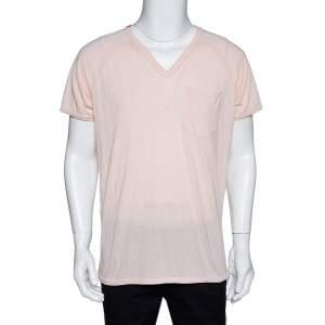 Dolce & Gabbana Peach Jersey Raglan Sleeve V-Neck T-Shirt XL