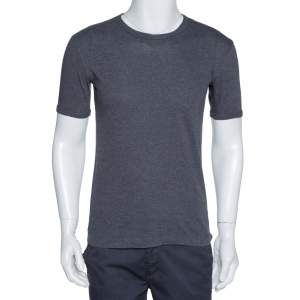 Dolce & Gabbana Grey Cotton Round Neck T-Shirt S