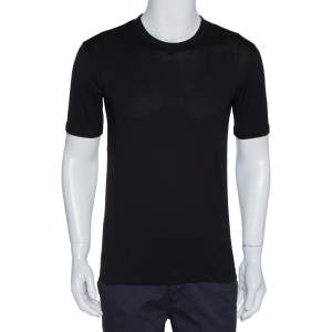 Dolce & Gabbana Black Cotton Round Neck T-Shirt M