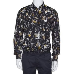 Dolce & Gabbana Gold Black Jazz Club Print Cotton Shirt L