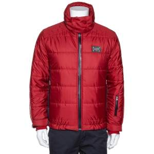 Dolce & Gabbana Red Hooded Puffer Jacket XS