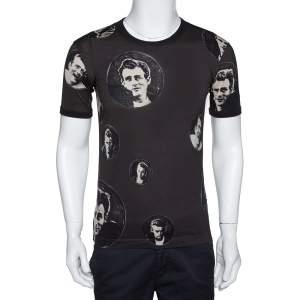 Dolce & Gabbana Charcoal Grey James Dean Print Cotton T-Shirt XS