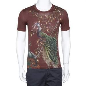 Dolce & Gabbana Bordeaux Peacock Print Cotton Crew Neck T-Shirt XS