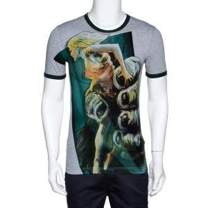 Dolce & Gabbana Dark Green & Grey Cotton Kong Print T Shirt XS