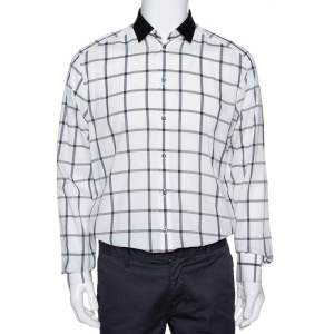 Dolce and Gabbana White Cotton Grid Pattern Button Front Shirt XL