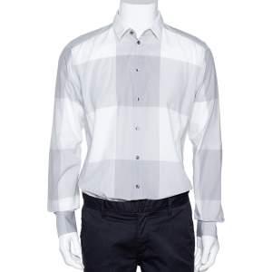 Dolce & Gabbana Pale Grey Plaid Cotton Button Front Shirt XL