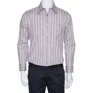 Dolce & Gabbana Dusty Pink Striped Cotton Button Front Shirt L