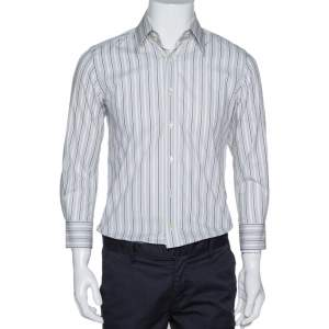 Dolce & Gabbana Pale Grey Striped Cotton Button Front Shirt S
