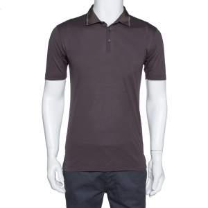 Dolce & Gabbana Dark Brown Cotton Striped Grosgrain Collar Detail Polo T Shirt S