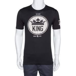 Dolce & Gabbana DG Millennials Black Cotton King Print T Shirt S