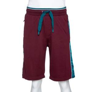 Dolce & Gabbana Burgundy Cotton Colorblock Drawstring Waist Shorts M