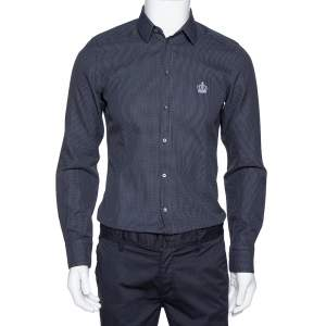 Dolce & Gabbana Grey Diamond Patterned Cotton Gold Fit Slim Shirt M