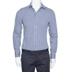Dolce & Gabbana Navy Blue Gingham Check Cotton Sicilia Fit Shirt M