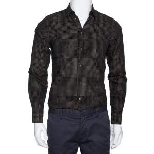 Dolce & Gabbana Black & Yellow Dotted Cotton Gold Fit Shirt XS