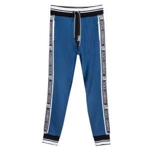 Dolce & Gabbana Blue Jersey Logo Tape Detail Jogger Pants S