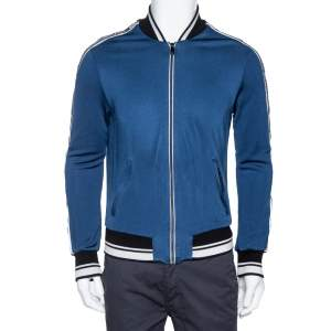 Dolce & Gabbana Blue Jersey Striped Logo Detail Zip Front Jacket S