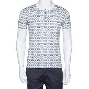 Dolce & Gabbana Monochrome Cotton Crown & Bee Print Buttoned Crew Neck T Shirt S