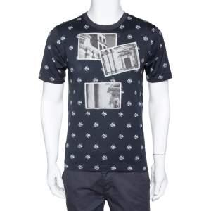 Dolce & Gabbana Navy Blue Cotton Abstract Print Crew Neck T Shirt XS