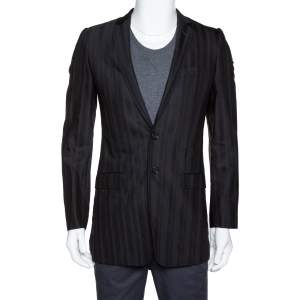 Dolce & Gabbana Black Stripe Patterned Wool Tailored Jacket S