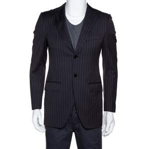 Dolce & Gabbana Dark Grey Striped Wool Tailored Jacket XS