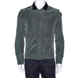 Dolce & Gabbana Dark Green Leather Trim Zip Front Jacket M