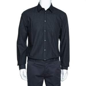 Dolce & Gabbana Black Dotted Cotton Jacquard Gold Fit Shirt XL