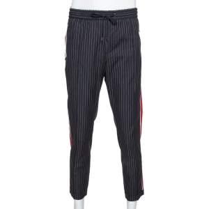 Dolce & Gabbana Black Pinstriped Cotton Contrast Side Stripe Pants XL