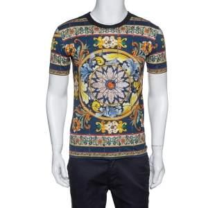 Dolce & Gabbana Dark Blue Majolica Print Cotton Crew Neck T-Shirt S