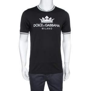 Dolce & Gabbana Black Logo Print Cotton Crew Neck T-Shirt M