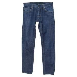 Dolce & Gabbana 14 Gold Blue Denim Straight Leg Jeans S