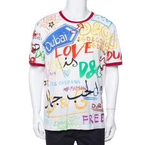 Dolce & Gabbana White Dubai Graffiti Print Cotton T-Shirt 5XL